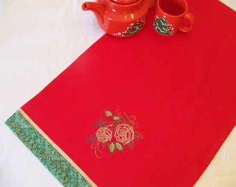 Holiday Linen tea towel-- machine embroidered