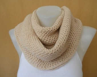 Infinity Scarf, Knitted Scarf, Loop Scarf, Circle Scarf, Cowl Scarf, Cream Color