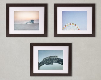 Coastal Decor, Beach Cottage Decor, Set of 3 Prints, California Photography, Santa Monica Wall Decor, Photographic Set