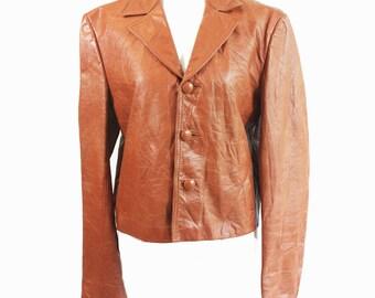 vintage caramel cropped leather jacket