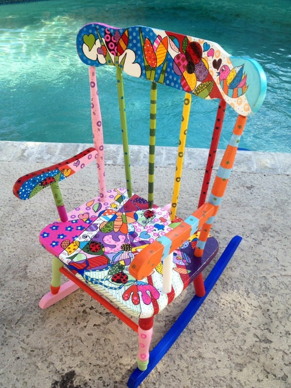 Hand Painted Baby Rocking Chair