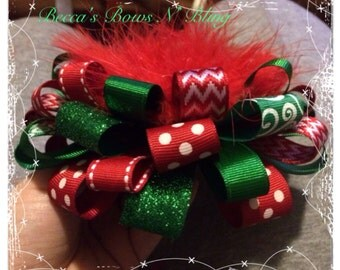 Red and green Christmas loopy hairbow.