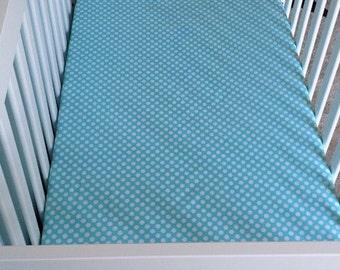 READY TO SHIP - Aqua Polka Dot Fitted Crib Sheet / Gender Neutral Fitted Crib Sheet / Boy Crib / Girl Fitted Crib Sheet / Modern Crib Sheet