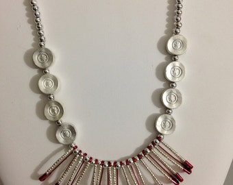 Silver and red safety pin necklace