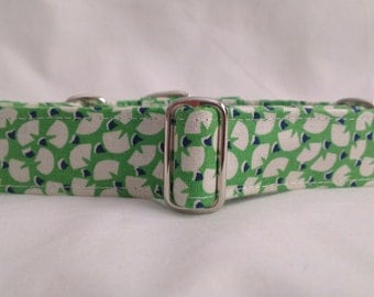 "Martingale Collar - Whippet, and Small to Medium Dog - 1"" width - Piccadilly Geo in Green"