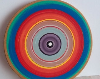 Tree ring painting, Colorful wood, Abstract wall art, Acrylic painting,Wooden circles, Multicolored art,Gift ideas