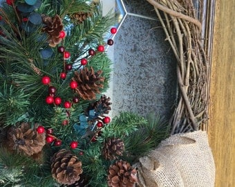 Rustic Christmas Wreath, Rustic Holiday Wreath, Burlap Bow, Red Berries, Pine Cones, Feathers, Grapevine Wreath