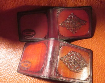 Mens leather billfold, hand tooled.