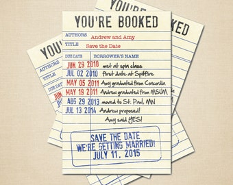 Printable Save the Date - 4x6 DIY Library Card DIGITAL FILE