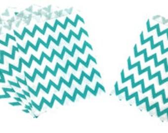 Chevron Turquoise Paper Treat Bags 24pcs Medium PTB010057 Just Artifacts Brand