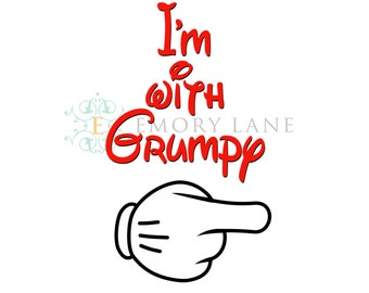 Mouse Hands,  I'm With Grumpy  **Instant Download** Iron On Transfer, DIY, Disney Vacation, Matching Digital Design