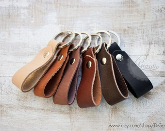 Mens leather key chain brown leather keychain genuine leather key fob thick leather key holder belt strap leather keychain leather key ring