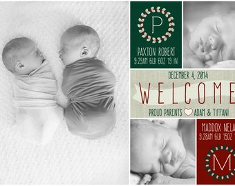 twin holiday birth announcement- back of card design included!