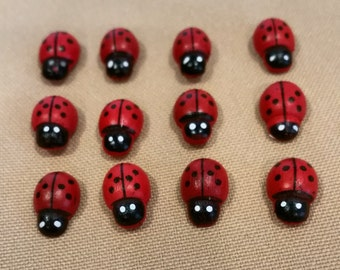red ladybugs,ladybugs,small ladybugs,wooden ladybugs,wood ladybugs,wreath decoration,spring decoration,baby shower,party favors,small bugs
