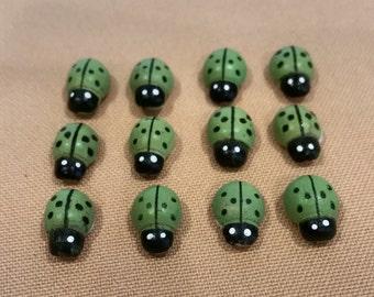 ladybugs,ladybug,small ladybugs,green ladybugs,small wooden ladybugs,wreath decoration,ladybug party favors,jar decoration,country decor