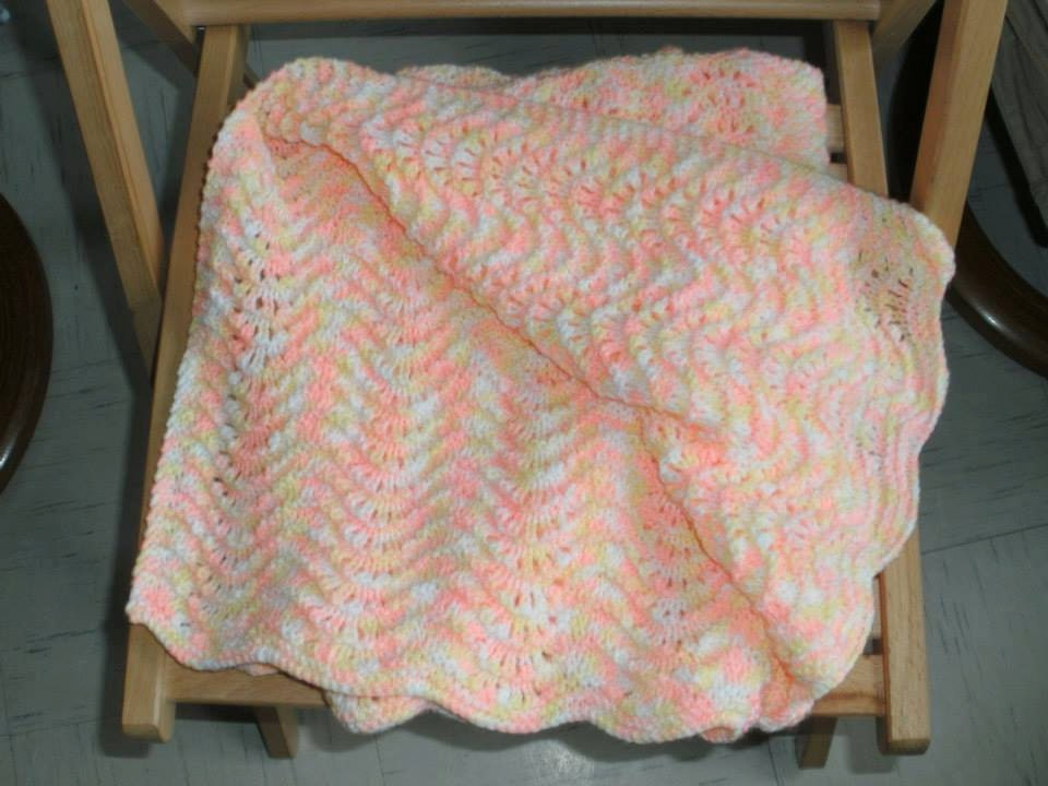 Double Knitting Blanket Pattern : A hand made wavy pattern double knitting blanket