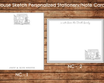 Personalized Digital Pencil Sketch Note Cards/Flat