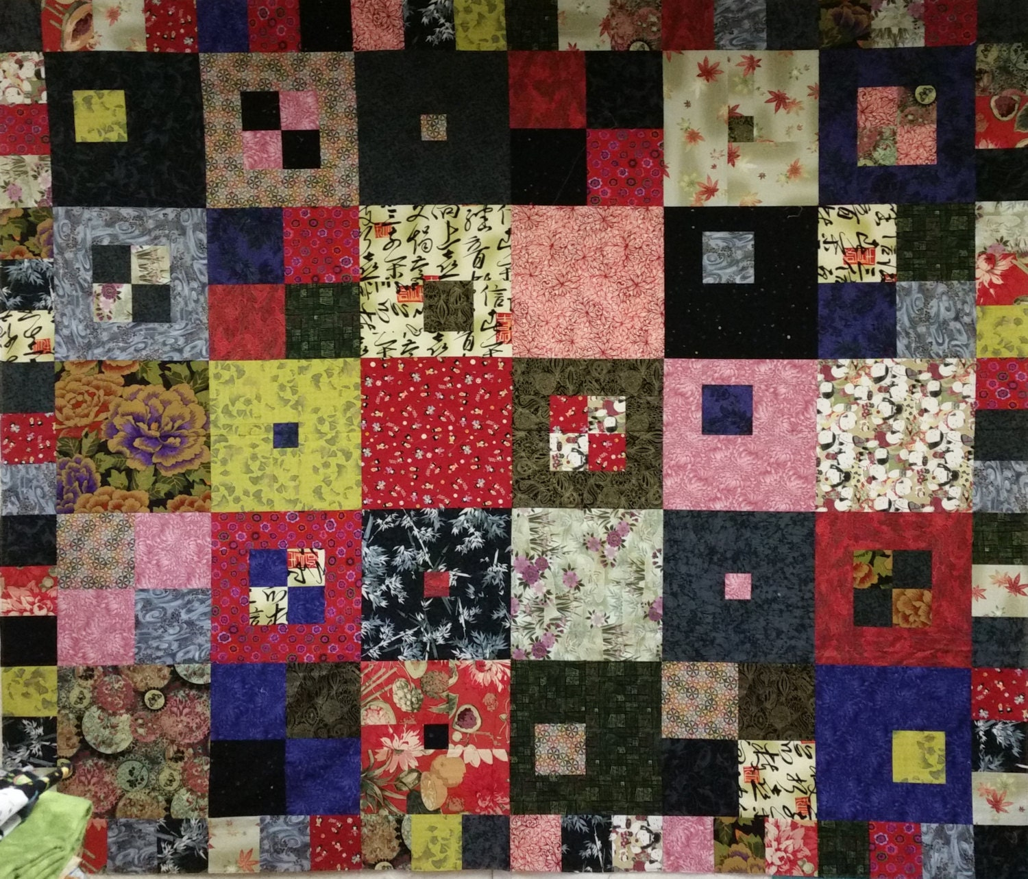 Busy Bee Quilt Designs Hip To Be Square : Hip to Be Square quilt top in Asian fabrics by MaterialPursuit