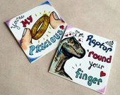 Unique Hand Drawn Nerdy Valentine's day Cards - Jurassic Raptor and Lord of the Rings