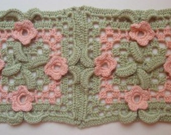 PDF.Granny Square with flowers and leaves.Crochet afghan.