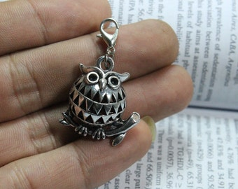 Owl Charm, Antique Silver tone Turkish Jewelry 14*25*25mm