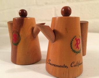 Vintage Souvenir Wooden Pitcher Salt & Pepper Shakers | Sacramento, California | Salt and Pepper Shakers Collectibles