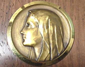 French Vintage Holy Mary Medallion