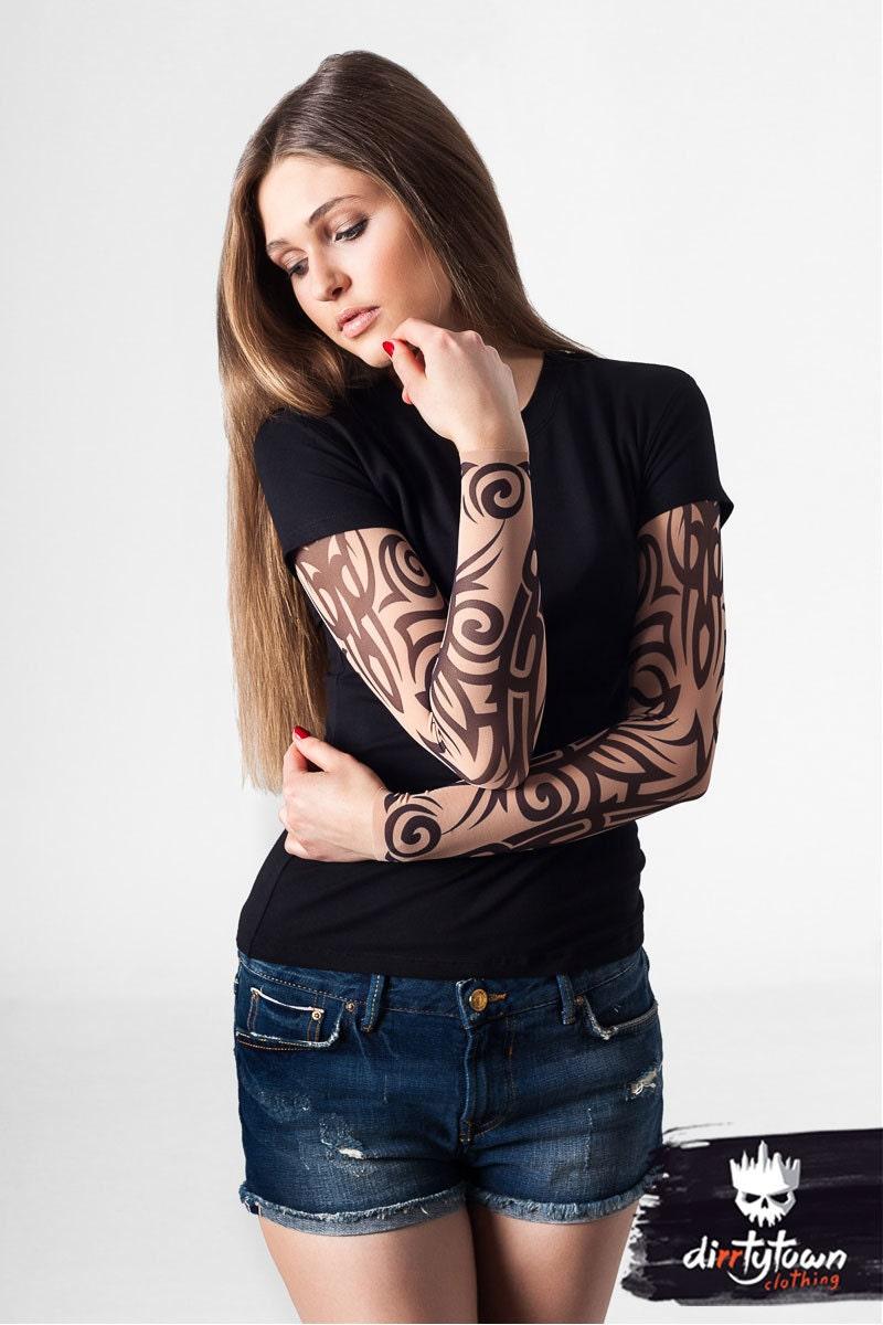 Tribal tattoo tshirt temporary tattoo tattoo sleeve womens for Tattoo sleeve shirts for women