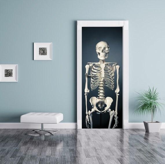 """Door MURAL, Halloween Skeleton Sticker, Self-Adhesive Decal, Photo Door Wrap 30 x 79 """""""
