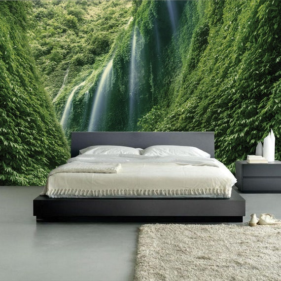 Wall mural amazing green waterfalls wall paper by for Amazing wall coverings