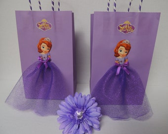 10 Pieces Princess Sofia the First Birthday Tutu Favor Goody Gift Paper Bags Purple