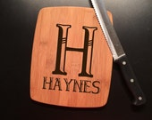 Monogram Family Name Laser Engraved Bamboo Cutting Board