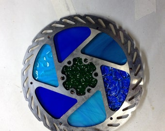 Worn-out Bicycle Disk Brake Rotor Gets a New Life as a Stained Glass Suncatcher