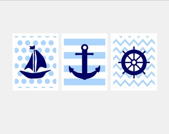 Baby Boy Nautical Nursery Print - Nautical Chevron Strip Dot Print - Blue Nautical Nursery Print Baby Boy Blue Nursery Wall Art. Choose Size