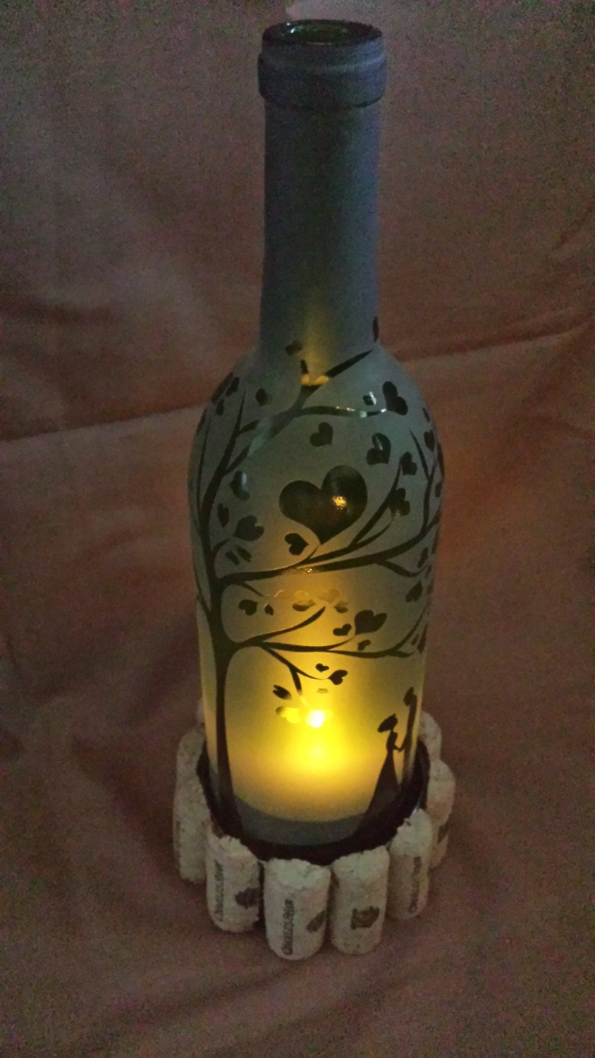 Etched recycled wine bottle candle shade hurricane lamp heart for Champagne bottle lamp