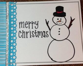 Snowman handmade card (holidays, Christmas, etc.)