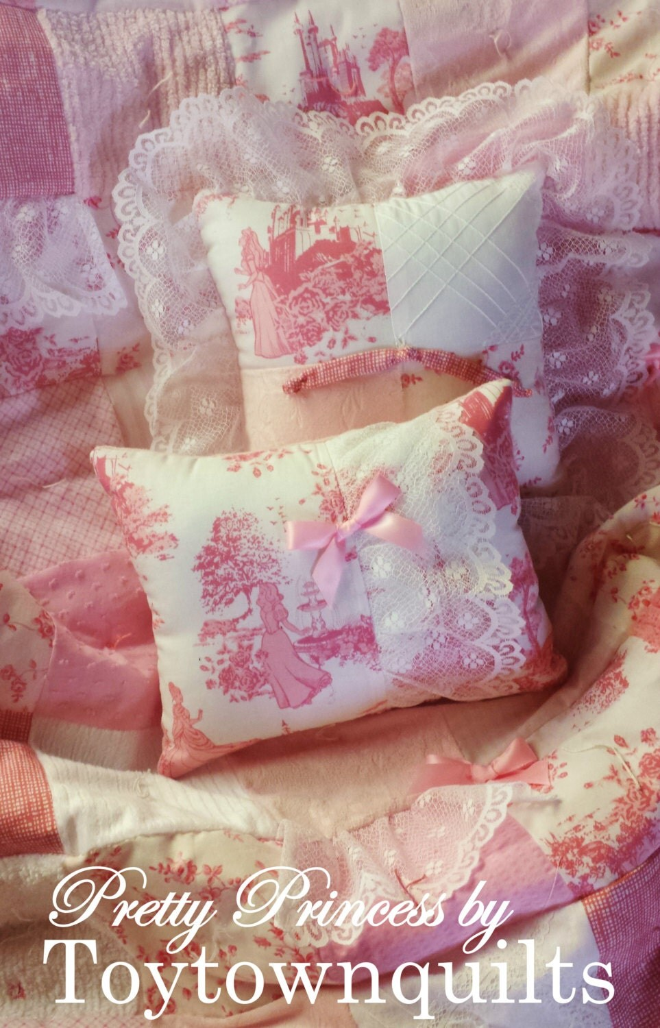 Disney princess fabric vintage chenille pink toile baby girl for Baby girl fabric
