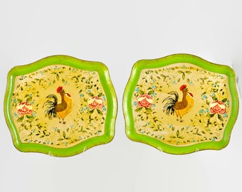 Two Vintage French Country Rooster Motif Hand Painted Paper Mache Serving Trays