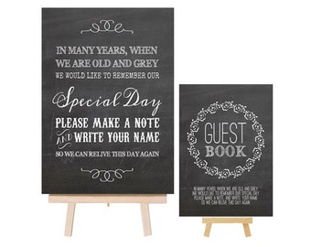 Guest Book or Wishing Tree Chalkboard Effect Metal Table Sign / Plaque With Wooden Easel - Sizes A4 A5 for Vintage and Shabby Chic Weddings