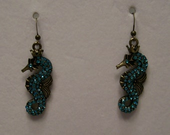 Antique gold seahorse earrings with aqua crystals