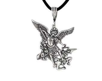 Sterling Silver .925 St. Michael Archangel Charm Pendant Necklace, Oxidized   Made In USA