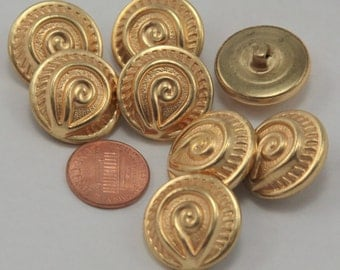 """Lot of 8 Gold Tone Metal Puffed Hollow Buttons 7/8"""" 23mm # 6504"""
