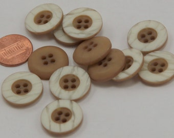"Lot of 12 Camel & Cream Plastic Buttons 3/4"" 19mm # 6537"