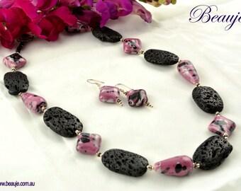 Pink Glass necklace Black necklace Gemstone Jewellery Unique Beaded Necklace Glass Jewellery Handmade Beauje Basalt