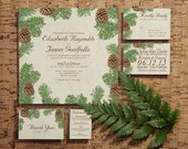 Pine Cones Wedding Invitation Set/Suite, Printed/Printable Wedding Invitations/Invites, Save the date, RSVP, Thank You Cards,Digital/PDF