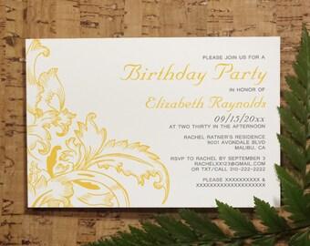 Gold Flourish Birthday Invitation Template, Printed/Printable Birthday Invitations, Birthday Invites, Digital, PDF, DIY Party