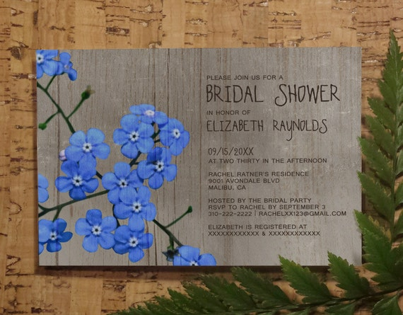 Forget Me Not Wedding Invitations: Rustic Forget-Me-Not Bridal Shower Invitation By