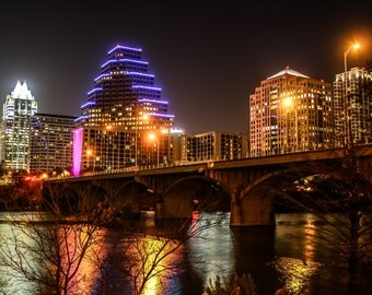 Street Bridge over river in Downtown Austin