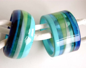 Resin bangles, set of two, stripes in blue and green, fits M