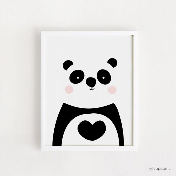 items similar to poster bebe instant download panda printable art panda bear cute animal. Black Bedroom Furniture Sets. Home Design Ideas